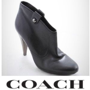 COACH Black Aliza Leather Booties Boots 6.5